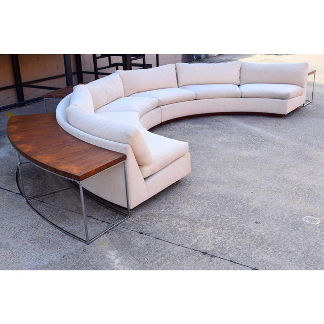 Milo Baughman Semi-Circular Sofa With Rosewood Tables For Sale - Image 11 of 13