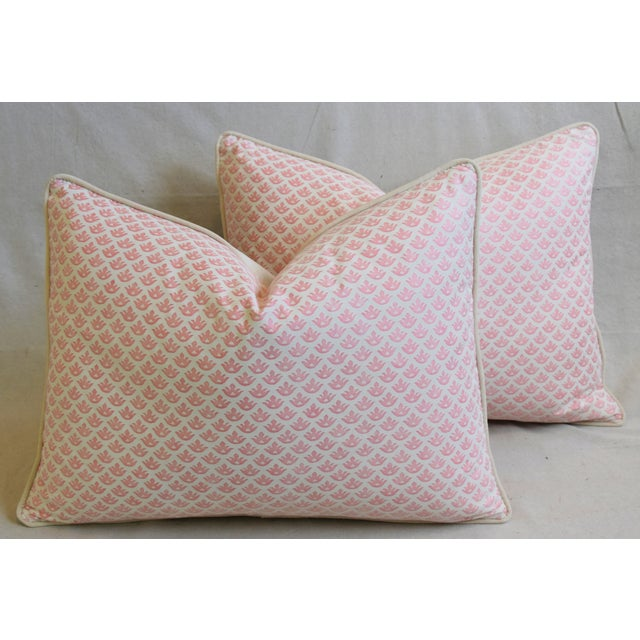 """Italian Mariano Fortuny Pink Canestrelli & Velvet Feather/Down Pillows 24"""" X 18"""" - Pair For Sale - Image 12 of 13"""