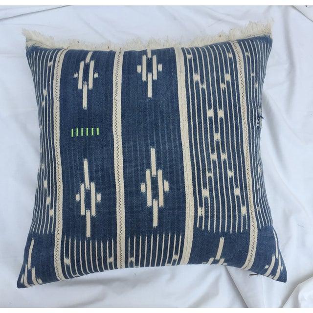 Indigo Ikat Fringe African Pillows - A Pair - Image 6 of 7