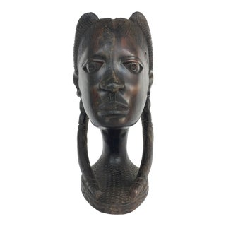 African Carved Wood Female Bust For Sale