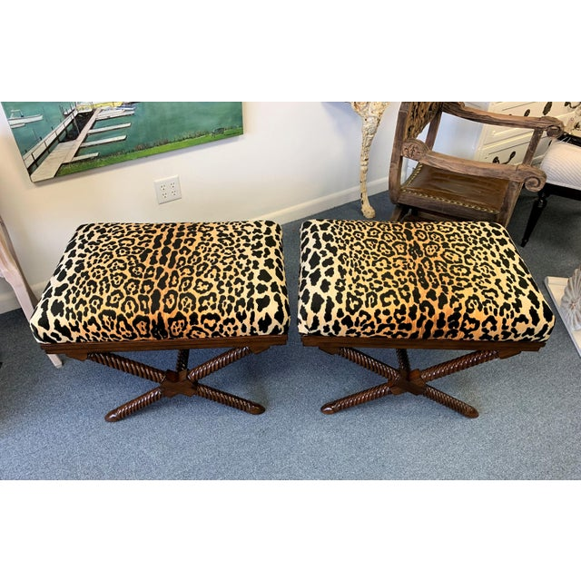 1970s Vintage Palecek Hollywood Regency Velvet Leopard X Benches -A Pair For Sale - Image 12 of 12