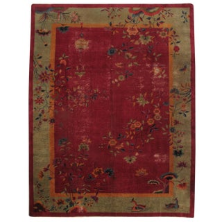 Antique Chinese Hand-Knotted Rug - 8′10″ × 11′3″ For Sale