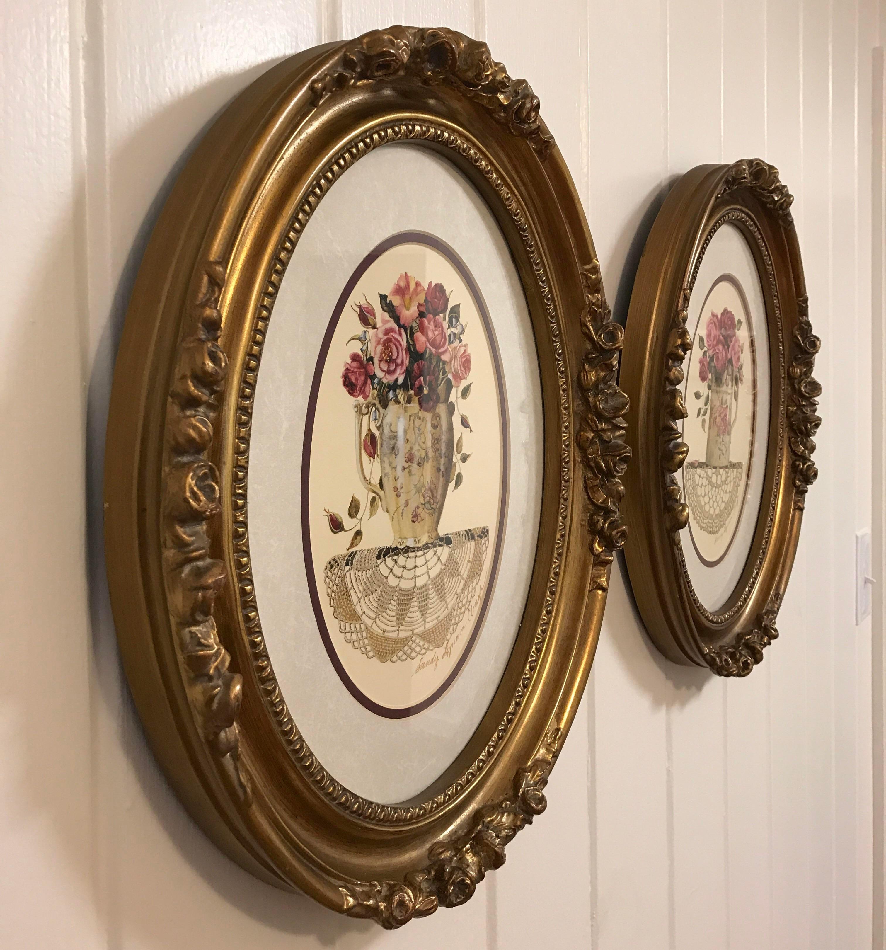 framed oval floral prints