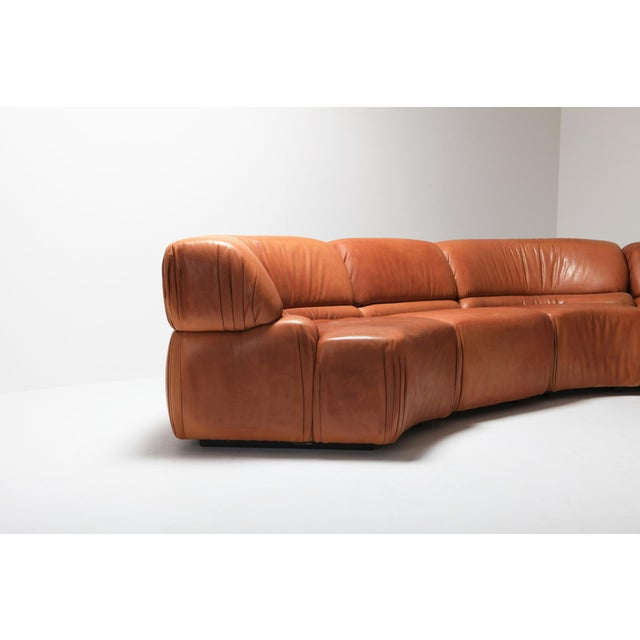 Mid-Century Modern Sectional Cognac Leather Sofa 'Cosmos' by De Sede, Switzerland For Sale - Image 3 of 10