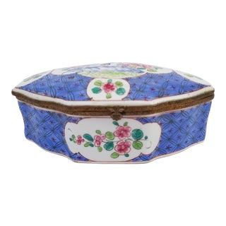Antique 19th Century French Samson Large Porcelain Trinket Box For Sale
