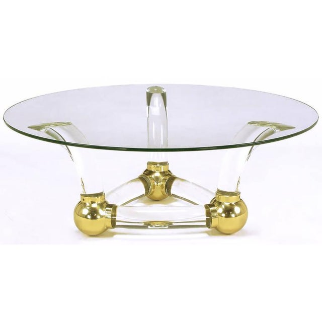 Contemporary Round Coffee Table With Thick Curved Lucite & Brass Ball Base For Sale - Image 3 of 8