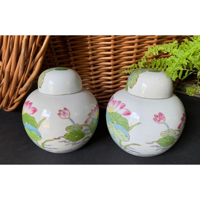 Asian Vintage Chinoiserie Lidded Jars - a Pair For Sale - Image 3 of 11