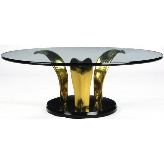 Black Lacquer & Brass Palm Leaf Cocktail Table For Sale - Image 4 of 8