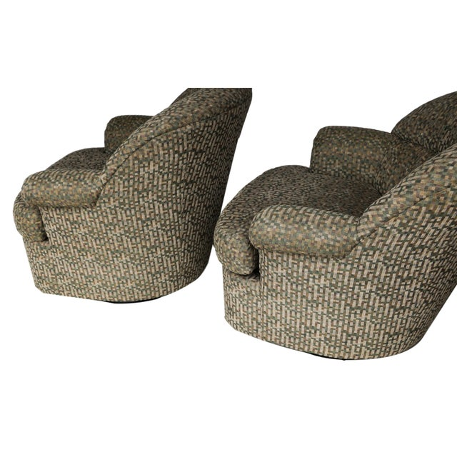 Pair Mid Century Modern Swivel Lounge Chairs - Image 6 of 9