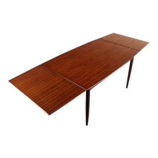 Danish Modern Boat Teak Extension Table / Dining Table w/ Tapered Pullout Leaves, Denmark For Sale