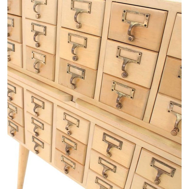 Tan Multi Drawer Vintage All Solid Wood Index Card File Cabinet For Sale - Image 8 of 9