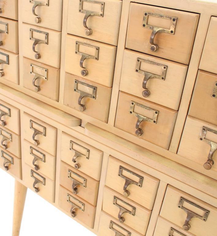 Superieur Tan Multi Drawer Vintage All Solid Wood Index Card File Cabinet For Sale    Image 8