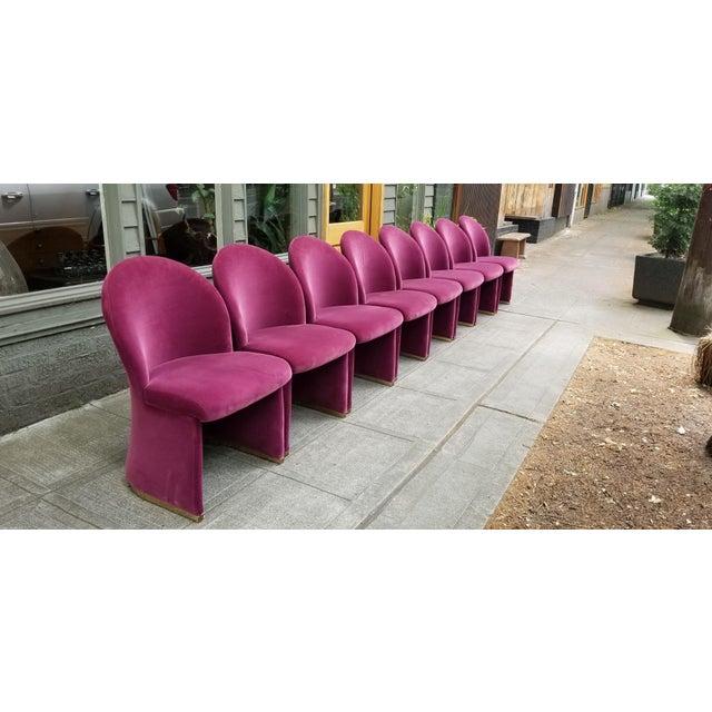 Mid-Century Purple Velvet Dining Chairs - Set of 8 - Image 8 of 8