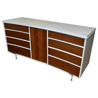Midcentury Dresser With Concave Form, 8 Drawers and Herring-Bone Center Panel For Sale