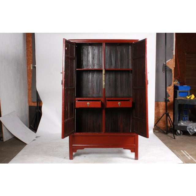 Lacquer Ming-Style Wedding Cabinet For Sale - Image 7 of 11