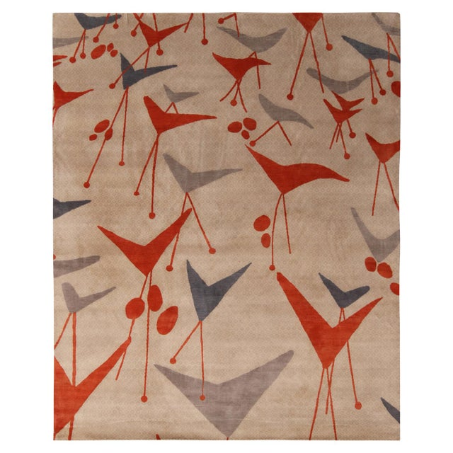 Rug & Kilim's Mid-Century Modern Geometric Beige Gray and Red Wool and Silk Rug For Sale In New York - Image 6 of 6