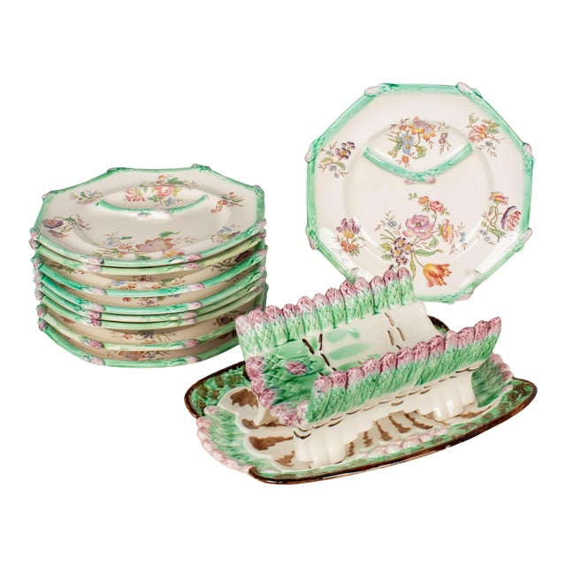 Longchamp French Majolica Asparagus Plates and Serving Set For Sale