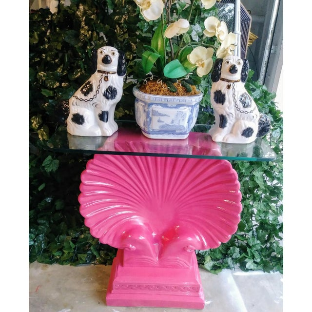 Clam Shell Bright Pink Palm Beach Regency Console Table Base Grosfeld House Style For Sale In West Palm - Image 6 of 11