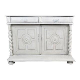 1970s Contemporary Whitewashed Barley Twist Oak Sideboard Cabinet
