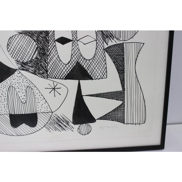 Mid-Century Modern 1970 Pen-Ink Abstract Painting by Listed Artist Rene Marcel Gruslin For Sale - Image 4 of 12