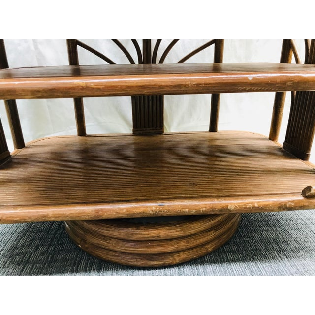 Brown 1980s Boho Chic Swivel Split Bamboo Rattan Console Table For Sale - Image 8 of 12