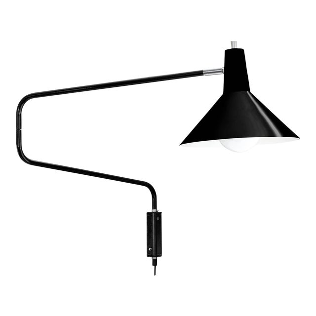 J.J.M. Hoogervorst Black Paperclip Wall Light for Anvia For Sale