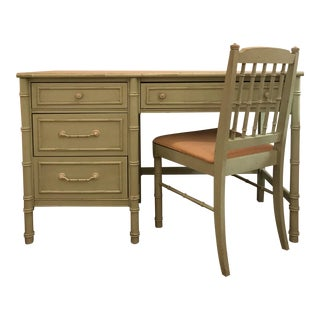 Thomasville Hollywood Regency Faux Bamboo Painted Desk & Chair - A Pair