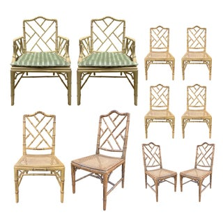 Mid-20th Century Faux Bamboo Dining Chairs- Set of 10 For Sale