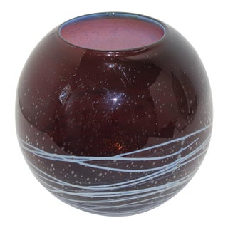 Mid-Century Round Glass Vase Aubergine With Grey Bubble and Applied Blue Lines For Sale