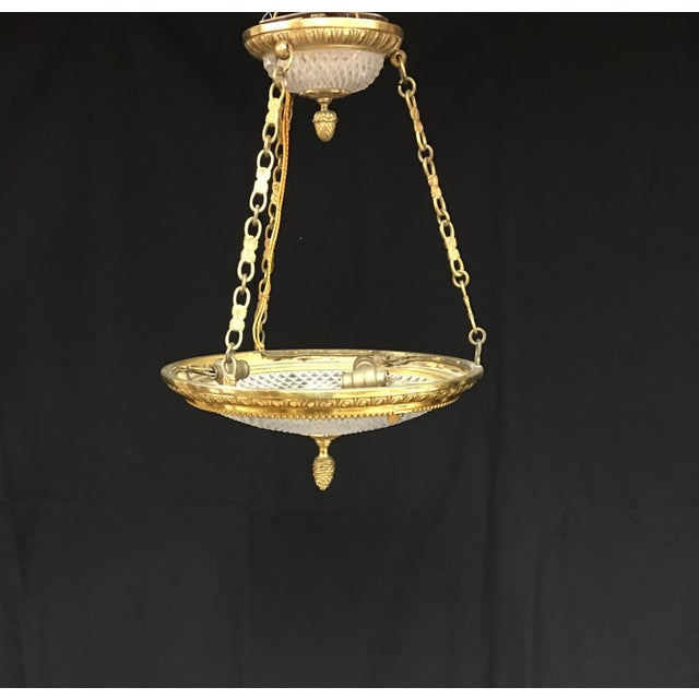 French Brass and Cut Crystal Neoclassical Empire Bowl Chandelier For Sale In Washington DC - Image 6 of 6