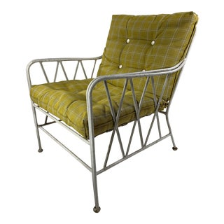 Mid Century Modern Heavy CastIron Wire Outdoor Lounge Chair For Sale