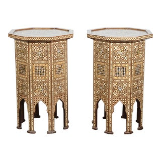20th Century Syrian Octagonal Pedestal Tables - a Pair For Sale