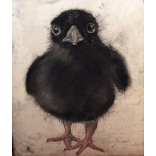 Baby Raven Grisaille Drawing For Sale