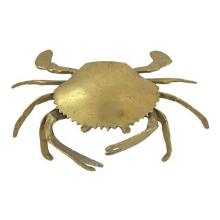Midcentury Brass Crab Tray For Sale