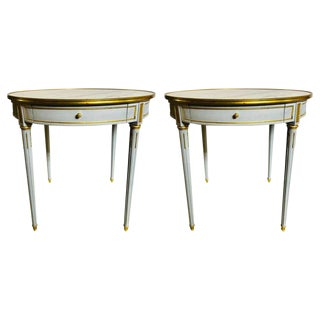 Pair Large Hollywood Regency Painted Bronze Mounted Bouiliotte Center End Tables For Sale