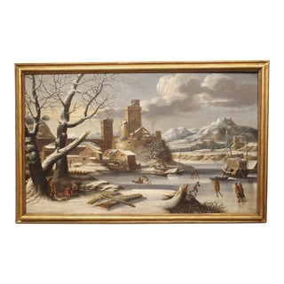 Large 17th Century Dutch Winter Scene Painting in Giltwood Frame For Sale
