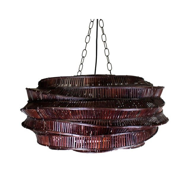 """2010s Thai Bamboo Intricately Woven """"Cloud"""" Chandelier For Sale - Image 5 of 5"""