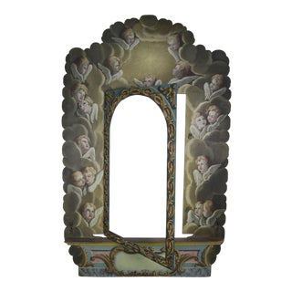 19th Century Italian Painted Frame With Cherubs For Sale