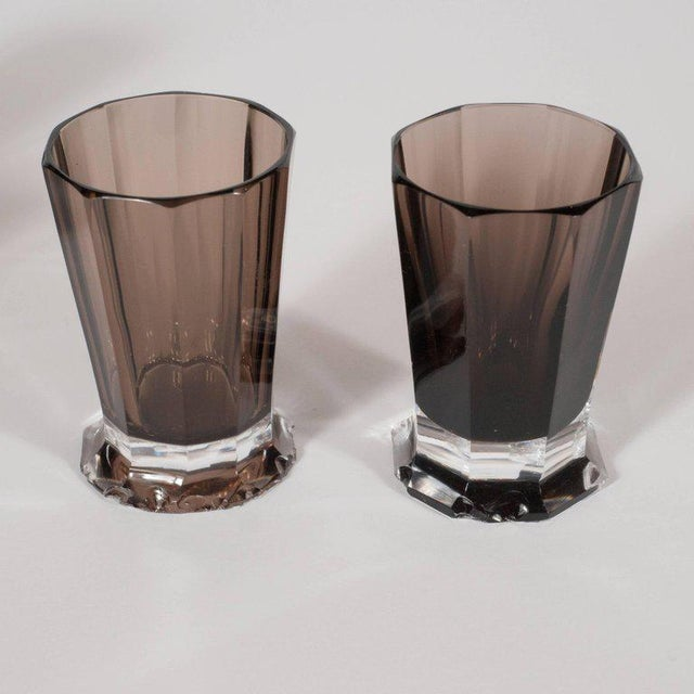 French Art Deco Seven Piece Smoked Glass Bar Set with Decanter and Shot Glasses For Sale In New York - Image 6 of 9