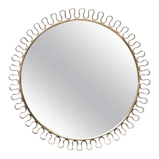 Sculptural Brass Loop Mirror by Josef Frank for Svenskt Tenn Sweden, 1950s For Sale
