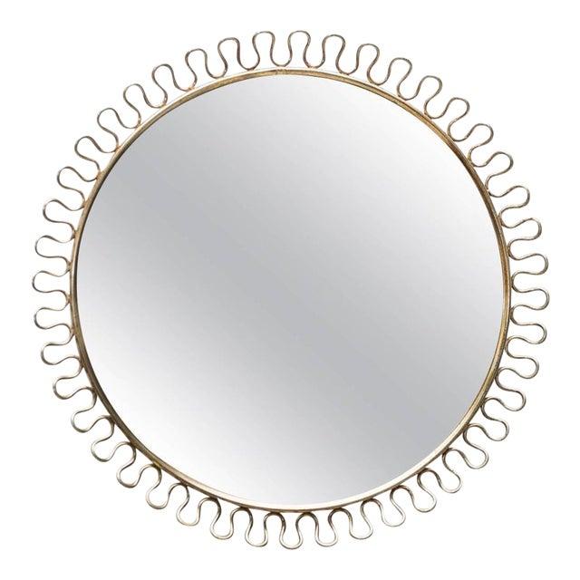 Sculptural Brass Loop Mirror by Josef Frank for Svenskt Tenn Sweden, 1950s For Sale