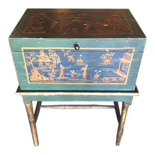 Green Chinoiserie Box on Stand For Sale