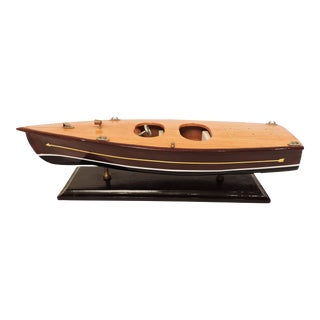 Handmade Wooden Model Vintage Speed Boat For Sale