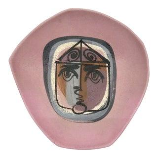 Vintage Studio Pottery Face Motif Platter For Sale