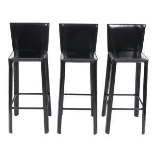 De Couro of Brazil Modern Leather Barstools For Sale