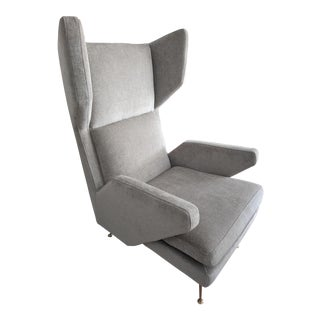 Mid-Century Modern Italian Style West Elm Wing Chair For Sale