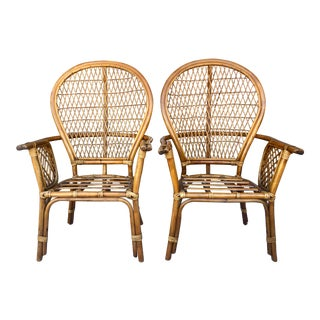 Bamboo Peacock Style Armchairs - a Pair For Sale