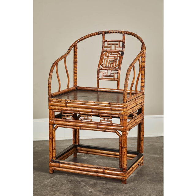 19th C. Chinese Bamboo Horseshoe Armchair For Sale In Los Angeles - Image 6 of 10