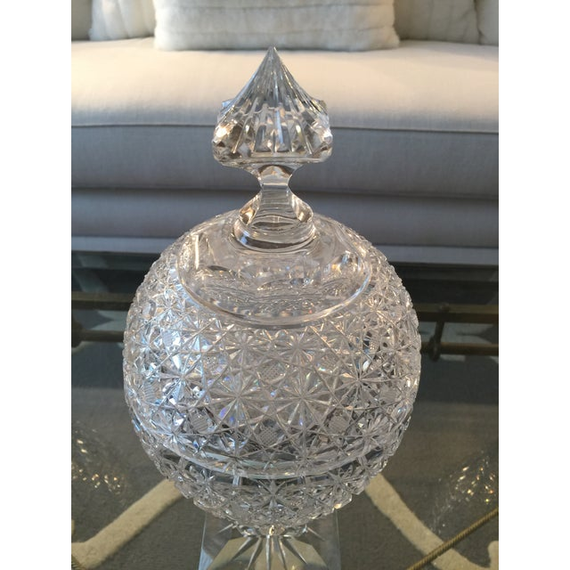 Vintage Russian Cut Crystal Pedestal Compote For Sale - Image 4 of 6