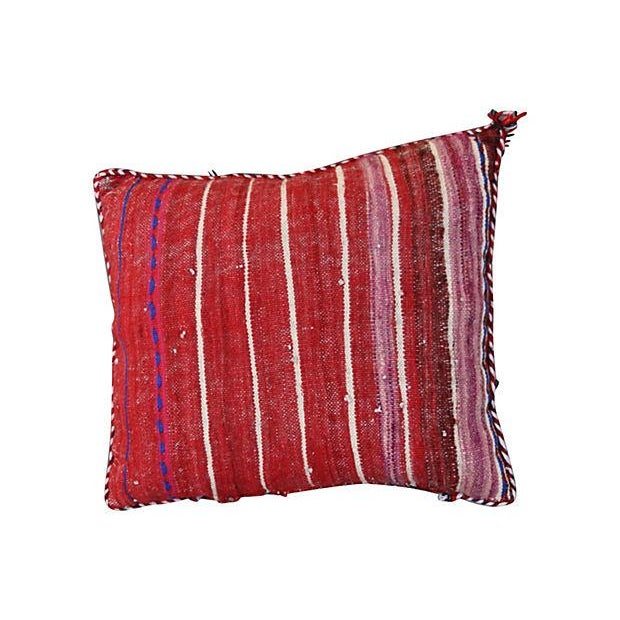 Handwoven pillow sham with an elaborate diamond pattern, from the Zemmour tribe in the Middle Atlas mountains of Morocco....